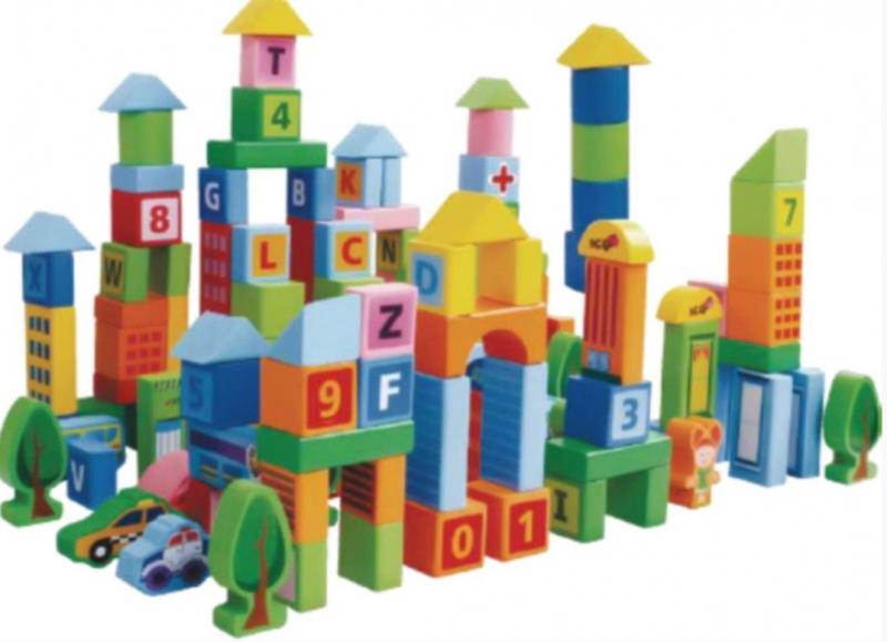 Dřevěné kostky v kyblíku ECO TOYS 100 ks - pastelové barvy, Městečko