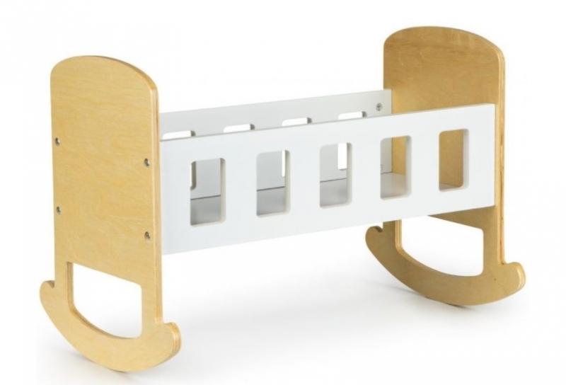ECO TOYS Dřevěná kolébka pro panenky  -  bílá