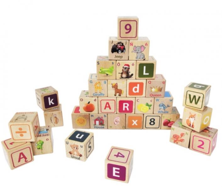 Dřevěné kostky ECO TOYS 32 ks - číslice, písmenka, obrázky