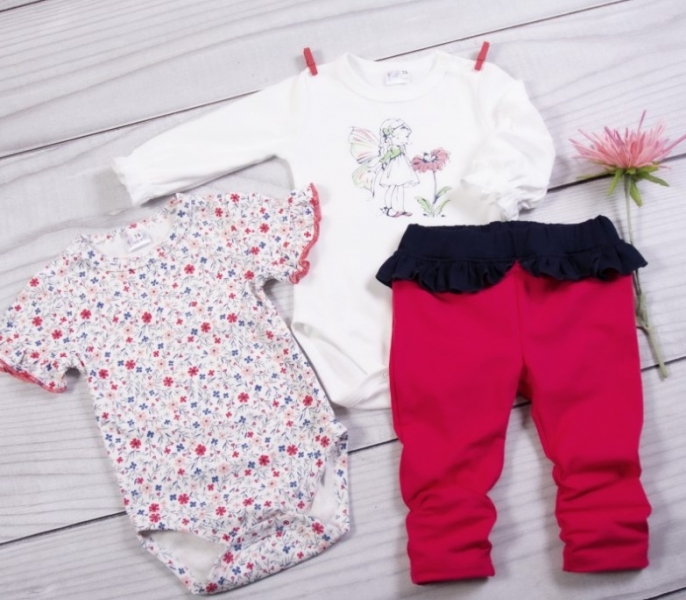K-Baby 3 dílná sada - 2x body dlouhý a krátký rukáv, legínky s volánkem - Motýlek, vel. 74, Velikost: 74 (6-9m)