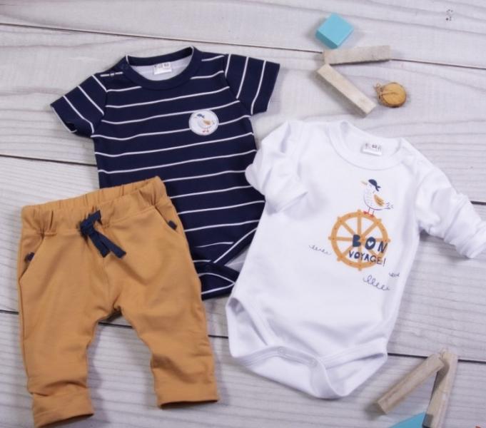 K-Baby 3-dílná sada - 2x body dlouhý a krátký rukáv,tepláčky, Námořník, vel. 86