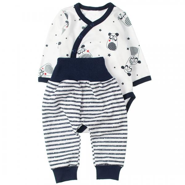 MBaby 2-dílná kojenecká sada body s dl.rukávem zap.bokem + tepláčky, Panda, vel. 62