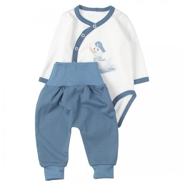 MBaby 2-dílná kojenecká sada body s dl.rukávem zap.bokem + tepláčky, Duck boy, Velikost: 56 (1-2m)
