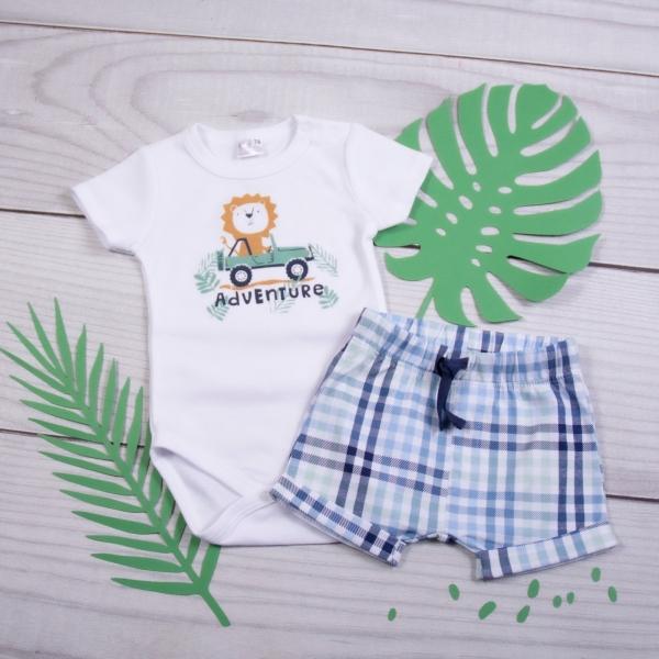K-Baby 2 dílná dětská sada, body s kr. rukávem a kraťásky Adventure Lvíček, Velikost: 62 (2-3m)