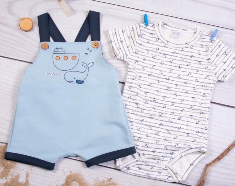 K-Baby 2 dílná dětská sada, body s kr. rukávem a lacláčky Holiday, modrá, vel. 80