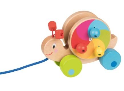 Goki Edukační dřevěná hračka 15,5 cm tahací - Hlemýžď