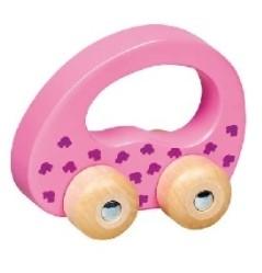 Goki Edukační dřevěné autíčko na kolečkách do ruky -  růžové, 1ks