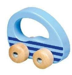 Goki Edukační dřevěné autíčko na kolečkách do ruky -  modré, 1ks
