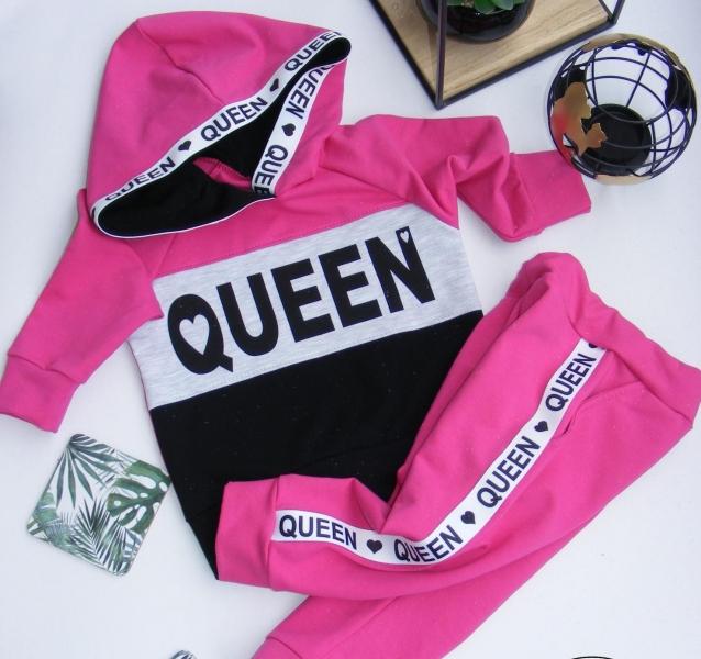G-baby Stylová bavlněná tepláková souprava Queen - malinová/černá, vel. 86