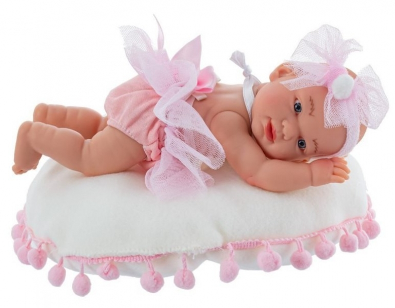 Nines Luxusní panenka  Golosinas na polštářku s bambulkama a vůní vanilky - 21 cm