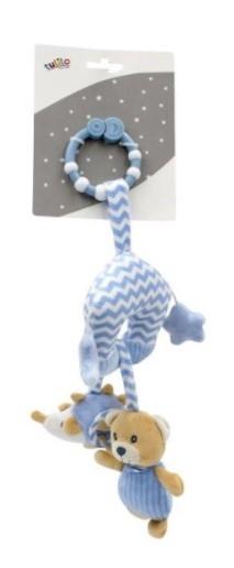 Tulilo Závěsná plyšová hračka s rolničkou Méďa Teddy - modrý