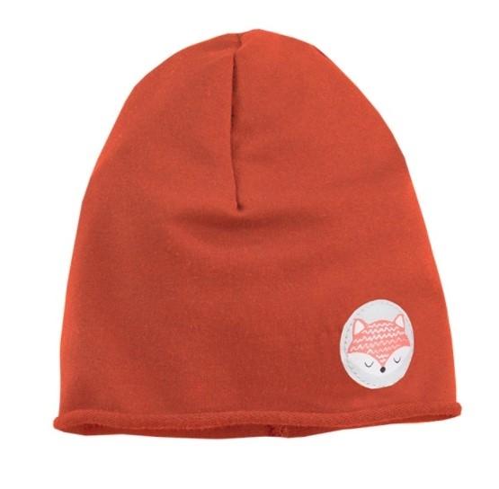 EEVI Dětská jarní/podzimní bavlněná čepice - Adventure Liška - cihlová, 42 - 44 cm