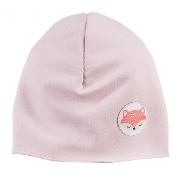 EEVI Dětská jarní/podzimní bavlněná čepice - Adventure Liška - sv. růžová, 40-42 cm