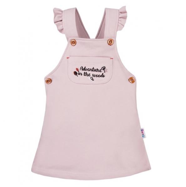 EEVI Dívčí šaty s laclem Adventure - pudrové, vel. 74