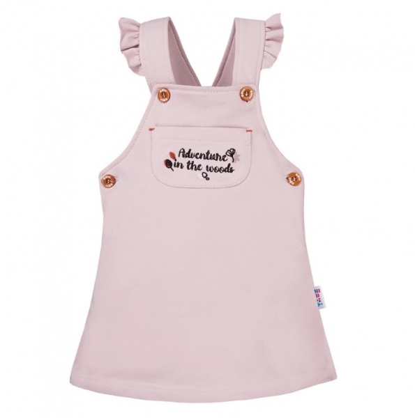 EEVI Dívčí šaty s laclem Adventure - pudrové, vel. 80