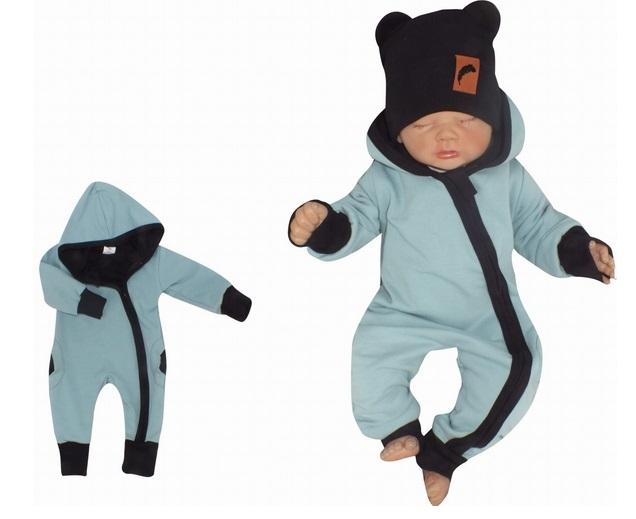 Z&Z Dětský teplákový overálek s kapucí, mořská modrá
