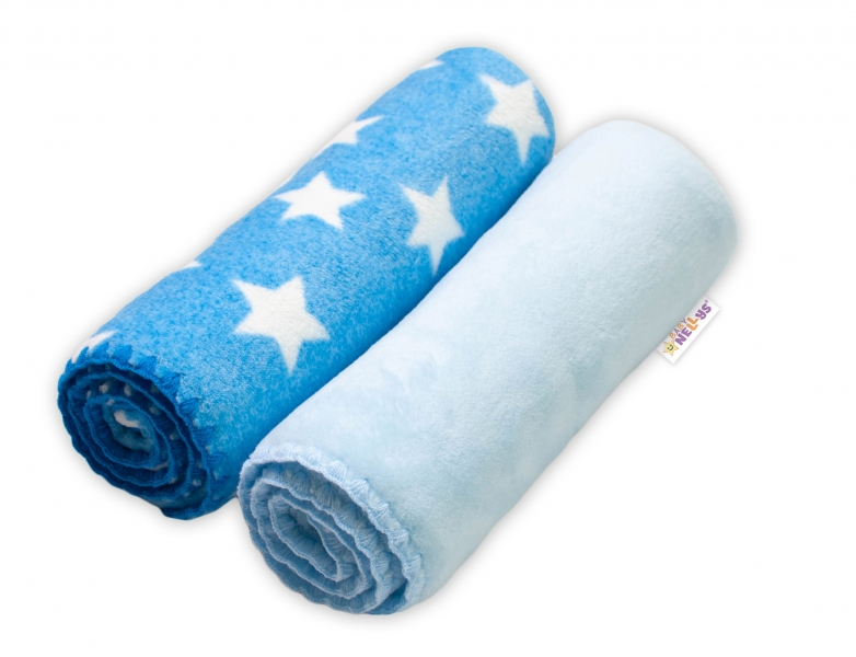 Baby Nellys Dětská Coral deka - Dual pack, 80x90 cm, Hvězdička, modrá