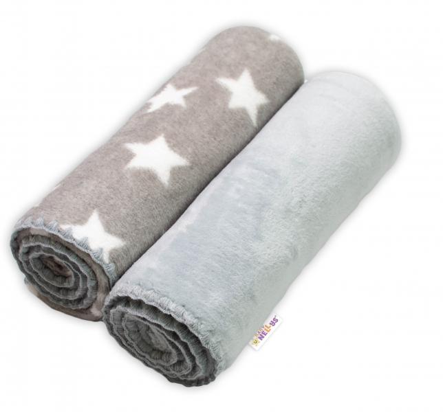 Baby Nellys Dětská Coral deka - Dual pack, 80x90 cm, Hvězdička, šedá