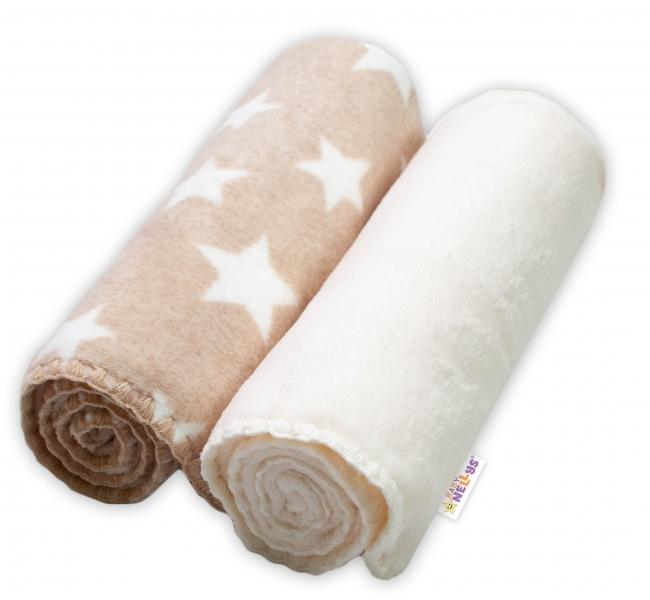 Baby Nellys Dětská Coral deka - Dual pack, 80x90 cm, Hvězdička, ecru