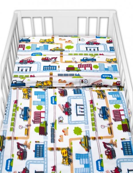 Baby Nellys 2-dílné bavlněné povlečení - Stavební stroje, bílé, vel. 135 x 100 cm