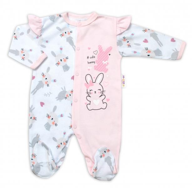 Baby Nellys Bavlněný kojenecký overal s volánky Cute Bunny - růžový, vel. 62