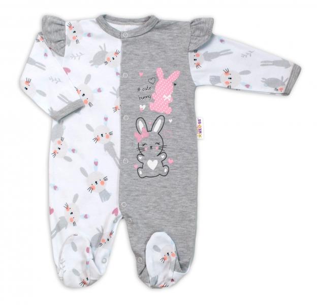 Baby Nellys Bavlněný kojenecký overal s volánky Cute Bunny - šedý, vel. 62