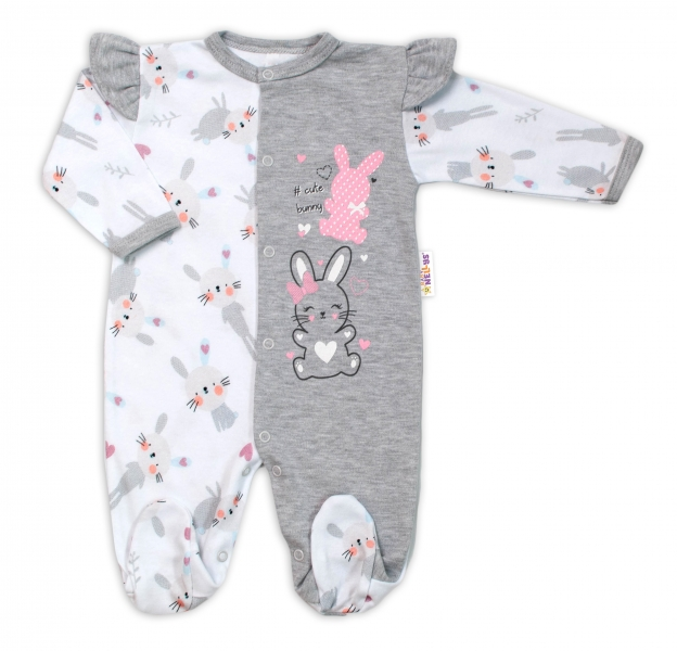 Baby Nellys Bavlněný kojenecký overal s volánky Cute Bunny - šedý, vel. 68