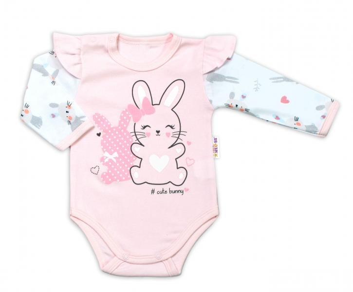 Baby Nellys Kojenecké body, dl. rukáv  s volánky Cute Bunny - růžové, vel. 80