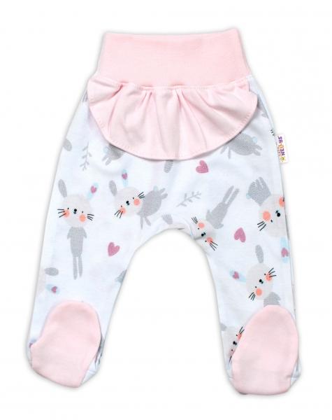 Baby Nellys Bavlněné kojenecké polodupačky, Cute Bunny s volánkem - růžové, vel. 74