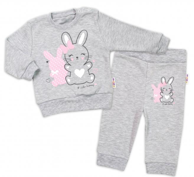 Baby Nellys Kojenecká tepláková souprava Cute Bunny - šedá, vel. 74