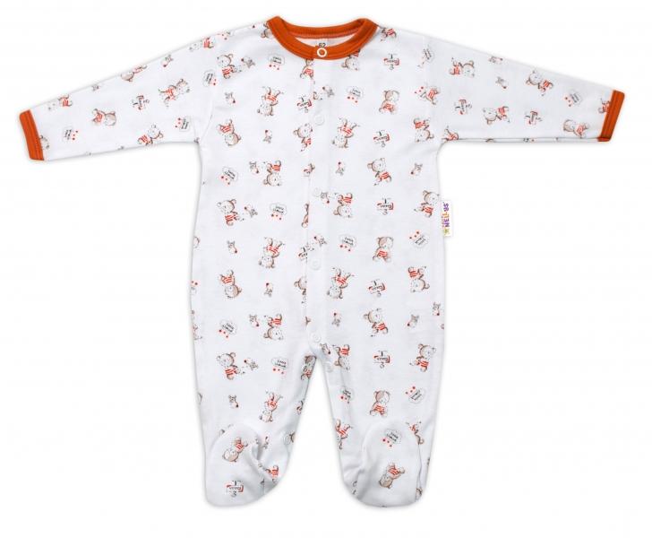Baby Nellys Bavlněný kojenecký overal Teddy - bílý, vel. 86