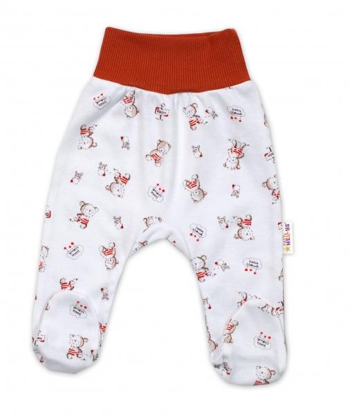 Baby Nellys Bavlněné kojenecké polodupačky, Teddy - bílé