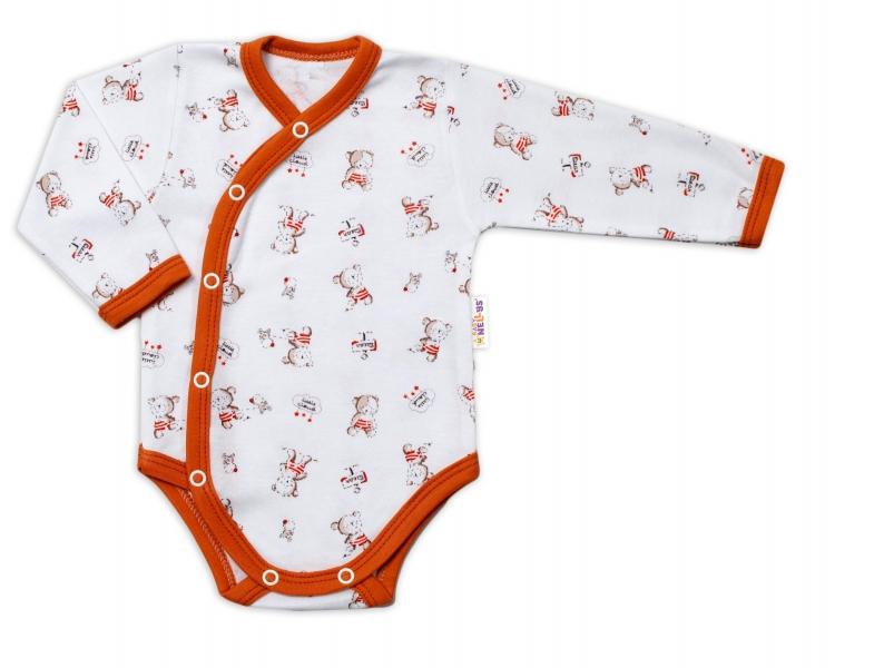 Baby Nellys Kojenecké body, dl. rukáv, zap. bokem Teddy - bílé s potiskem, Velikost: 56 (1-2m)