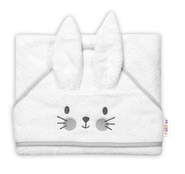 Baby Nellys Froté osuška s kapucí 80 x 80 cm Bunny - bílá