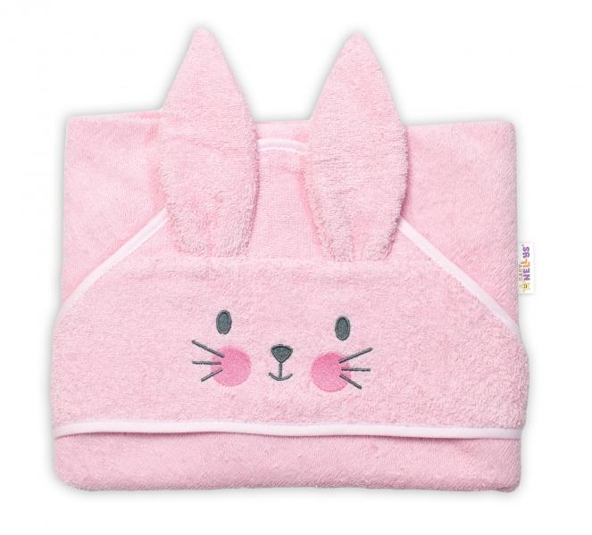 Baby Nellys Froté osuška s kapucí 80 x 80 cm Bunny - růžová