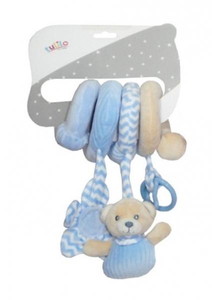 Tulilo Plyšová spirála  s chrastítkem a kousátkem Méďa Teddy, 28 cm - modrá