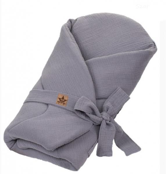 Baby Nellys Mušelinová zavinovačka s výztuží na zavazování, 75x75cm, šedá