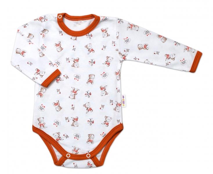 Baby Nellys Kojenecké body, dl. rukáv, Teddy - bílé s potiskem, Velikost: 74 (6-9m)