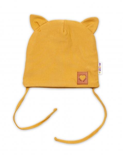 Baby Nellys Bavlněná dvouvrstvá čepice s oušky na zavazování FOX - hořčicová
