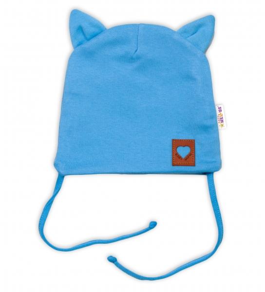 Baby Nellys Bavlněná dvouvrstvá čepice s oušky na zavazování FOX - modrá, vel. 40-42 cm