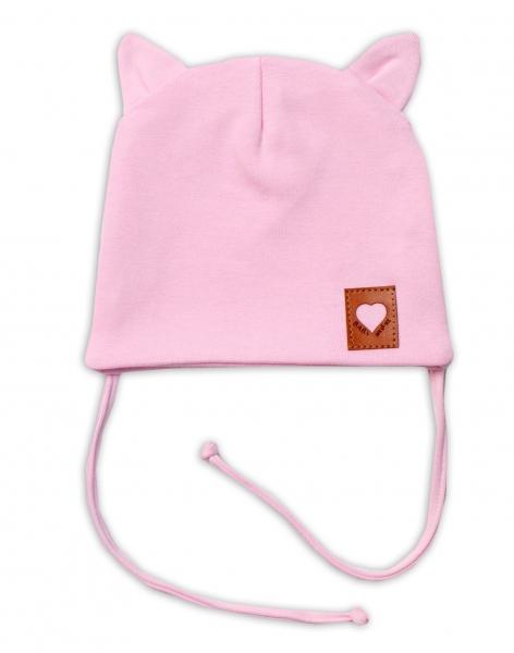 Baby Nellys Bavlněná dvouvrstvá čepice s oušky na zavazování FOX - růžová, vel. 44-46