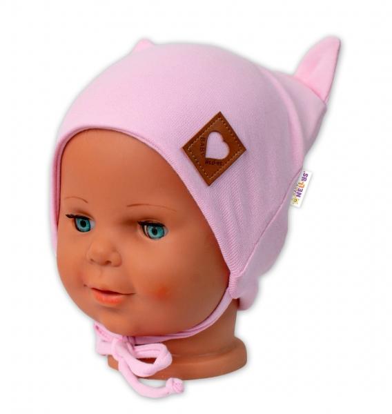 Baby Nellys Bavlněná dvouvrstvá čepice s oušky na zavazování FOX - růžová, vel. 80/86