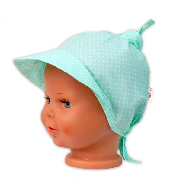 Baby Nellys Šátek na zavazování s kšiltem - Tečky, mátové