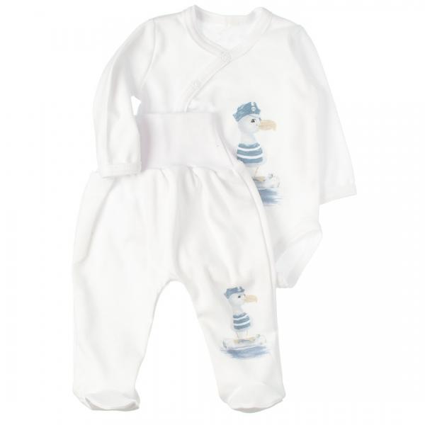 MBaby 2-dílná kojenecká sada body s dl.rukávem zap.bokem + polodupačky, Duck boy, Velikost: 56 (1-2m)