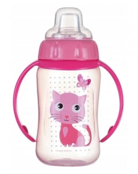 Canpol Babies hrneček s úchyty Kočička - růžový