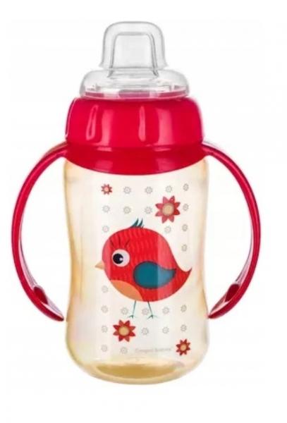 Canpol Babies hrneček s úchyty Ptáček - červený