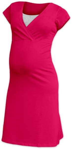 JOŽÁNEK Těhotenská, kojící noční košile EVA, krátký rukáv - sytě růžová, L/XL, Velikost: M/L