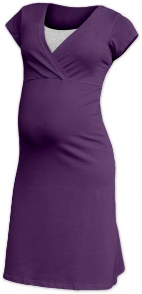 JOŽÁNEK Těhotenská, kojící noční košile EVA, krátký rukáv - švestková, Velikost: S/M