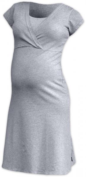 JOŽÁNEK Těhotenská, kojící noční košile EVA, krátký rukáv - šedý melírek, vel. L/XL, Velikost: L/XL
