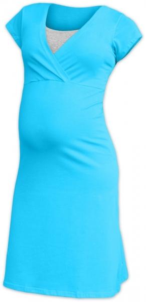 JOŽÁNEK Těhotenská, kojící noční košile EVA, krátký rukáv - tyrkysová